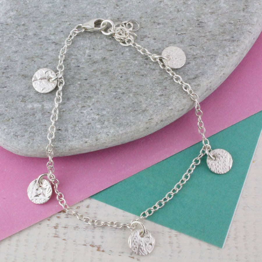 Personalised Sterling Silver Textured Circles Bracelet