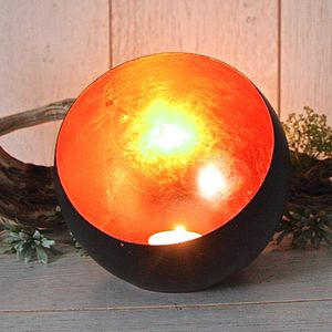 Copper Leaf Globe Tealight Votive - home accessories