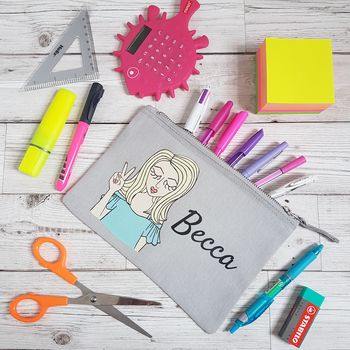Miss Sassy Personalised Canvas Pencil Case