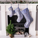 Personalised Christmas Stocking In Blue And Gunmetal