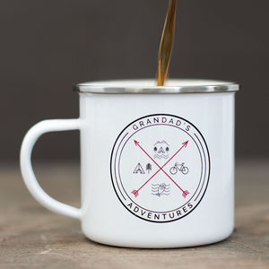 'Grandad's Adventures' Enamel Mug - gifts for grandparents