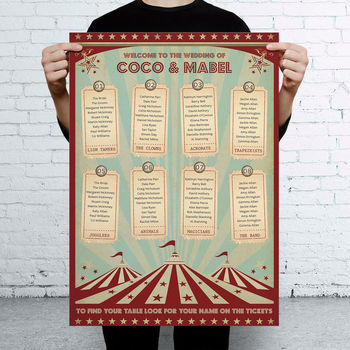 Funfair Circus Themed Wedding Seating Table Plan