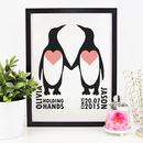 Personalised 'Holding Hands Since..' Penguin Print