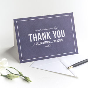 Wedding Thank You Card / Navy Blue