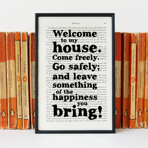 New Home 'Welcome To My House' Dracula Quote Print