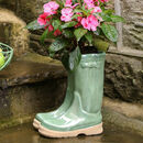 Green Ceramic Wellington Boots Planter