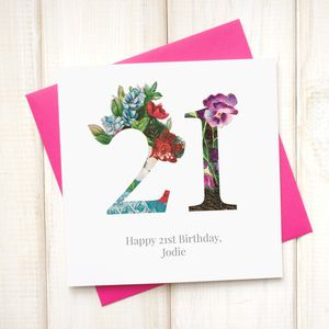 Personalised Floral Birthday Age Card - special age birthday cards