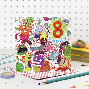 'Eight Today' Birthday Card - children's birthday cards