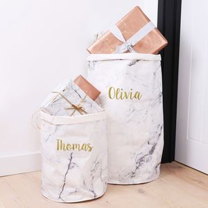 Personalised Round Marble Effect Storage Sack - baby's room
