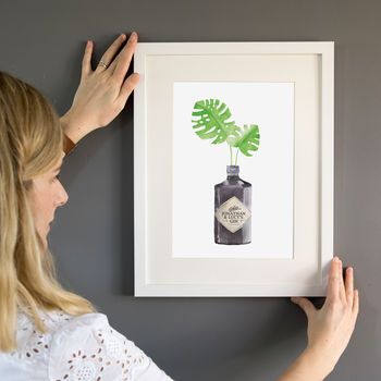 Personalised Gin Bottle Watercolour Painting Print