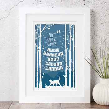 Personalised Family Print With Cat
