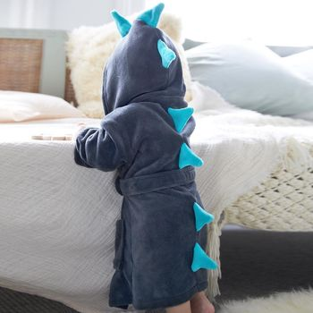 Personalised Grey Dinosaur Robe