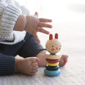 Modern Bunny Wood Rattle Toy - gifts for babies