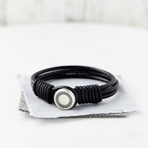 Personalised Eternal Love Silver And Leather Bracelet