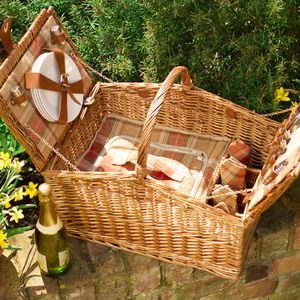 Personalised Amber And Tan Tartan Barn Hamper For Four - camping