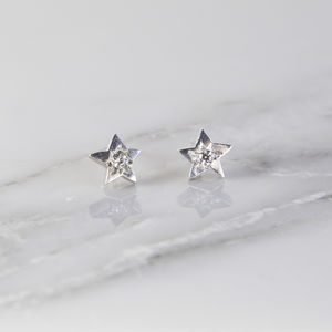 Celestial Diamond Star Stud Earrings