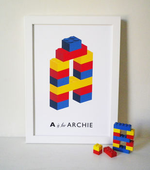 Personalised Building Block Initial Name Print