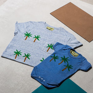 Palm Tree Dad Child/Baby Marl Blue T Shirt Set - clothing