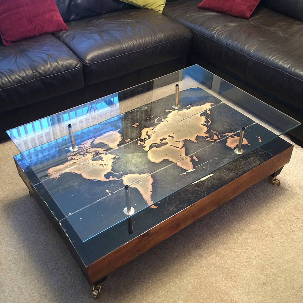 handmade vintage world map coffee table by lime lace