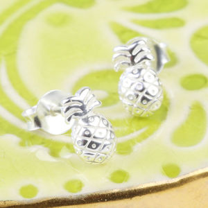 Tiny Sterling Silver Pineapple Stud Earrings
