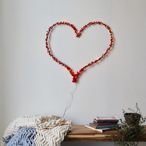 Red Pom Pom Heart Wall Light