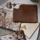 Brown And White Cowhide Clutch