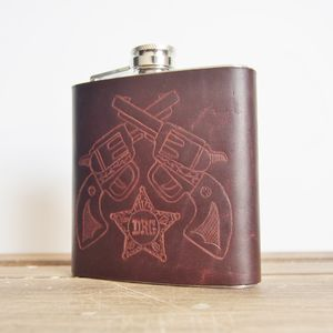 Personalised Cowboy Leather Hip Flask