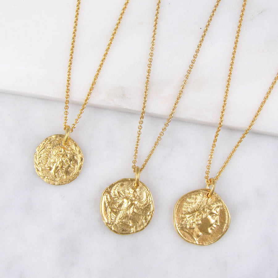 Roman coin necklace by black pearl notonthehighstreet roman style coin necklace yellow gold plated aloadofball Image collections