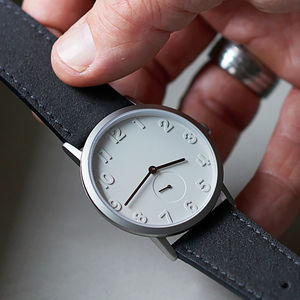 Stainless Steel Watch With Alcantara Strap - gifts for him