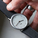 Stainless Steel Watch With Alcantara Strap