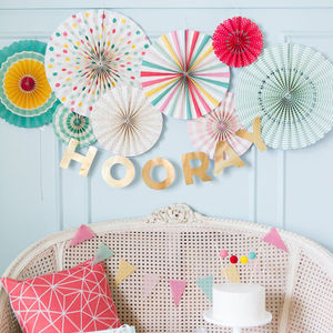 Hooray Rainbow Party Fan Set - hanging decorations