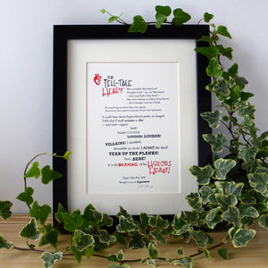 'The Tell Tale Heart' Typographic Letterpress Print - party decorations