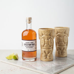 Tiki Cocktail Glasses With Spiced Rum Craft Cocktail