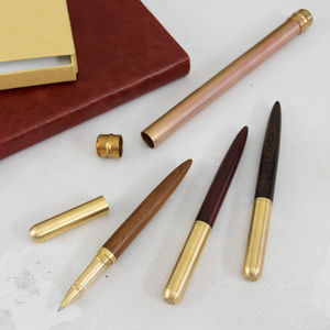 Heavyweight Brass Wood Pen With Hand Crafted Gift Case - 5th anniversary: wood