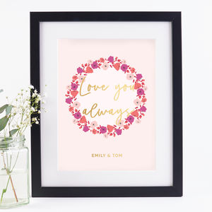 Love You Always Couple's Print Floral Foil