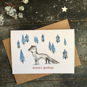 Arctic Fox Christmas Cards, Single Or Packs