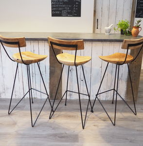 Industrial Wood Bar Stool With Backrest - living room