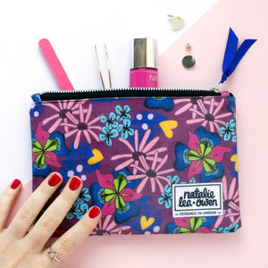 Oilcloth Makeup Bag With Illustrated Floral Pattern