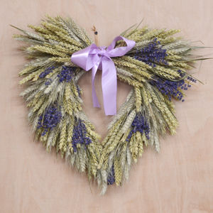 Lavender Heart Wheat Wreath - wreaths