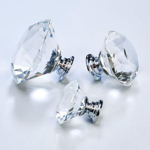 Clear Faceted Crystal Glass Cupboard Door Knobs - door knobs & handles