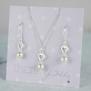 Bridesmaid Pearl Heart Jewellery Set