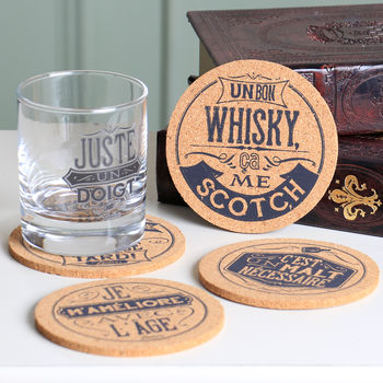 Set Of Four Vintage French Cork Whisky Coasters