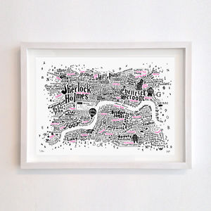 Literary Central London Map Screenprint