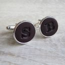 Personalised Leather Letter Cufflinks