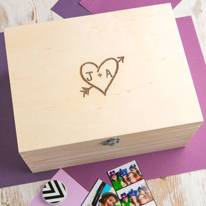 Personalised Couple's Carved Heart Memory Box - boxes, trunks & crates