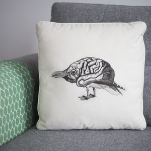 Bird Brain Screen Printed Cushion
