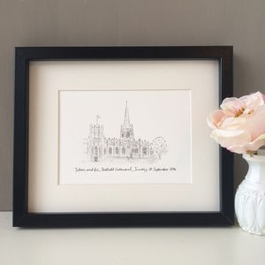 Personalised Wedding Venue Portrait - canvas prints & art