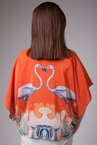 Handmade Silk Kimono, Hand Drawn Flamingo - tops & t-shirts