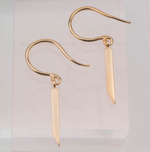 Single Skinny Bar Triangle Diamond Drop Earring - earrings