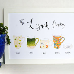 Personalised Illustrated Family Cups And Mugs Art Print